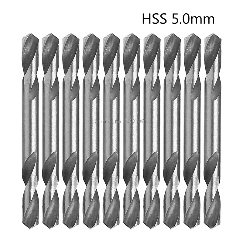 10Pcs Set 5mm HSS Double Ended Spiral Torsion Drill Tools Drills B119