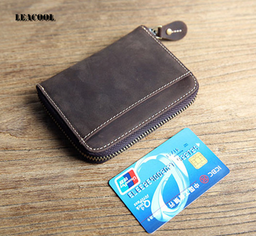 Leacool Small Wallet Male Clutch Card Holder Wallet Men Leather Male Portmann Coin Purse Portable Men Wallets Zipper Money Bags denim small mens wallet canvas men wallets leather male purse card holder coin pocket cloth zipper money bag cartera hombre