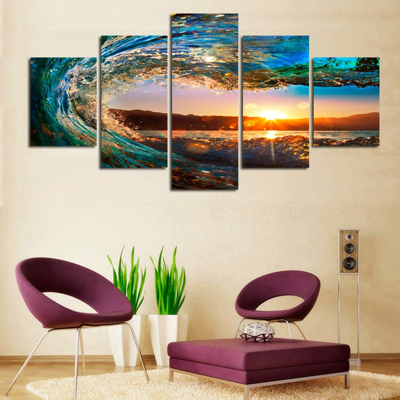 5 Panels Framed Ready To Hang Modern Seascape Painting Canvas Art Sea wave Landscape Wall Picture For Bed Room