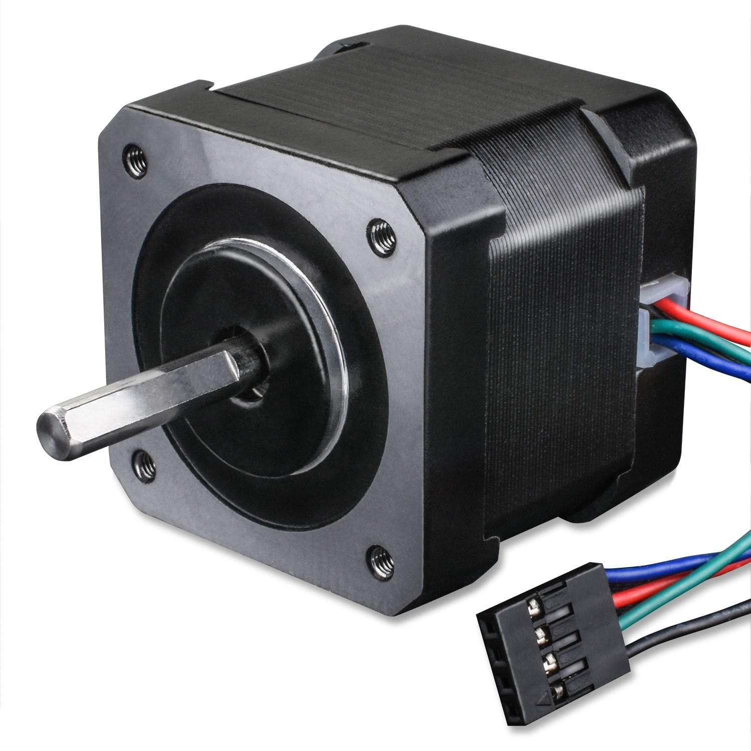 Nema 17 Stepper Motor Quimat Stepper Motor Bipolar 2A 64oz.in 38mm Body 4-Lead w// 1m Cable and Connector with Mounting Bracket for 3D Printer Hobby CNC 45Ncm