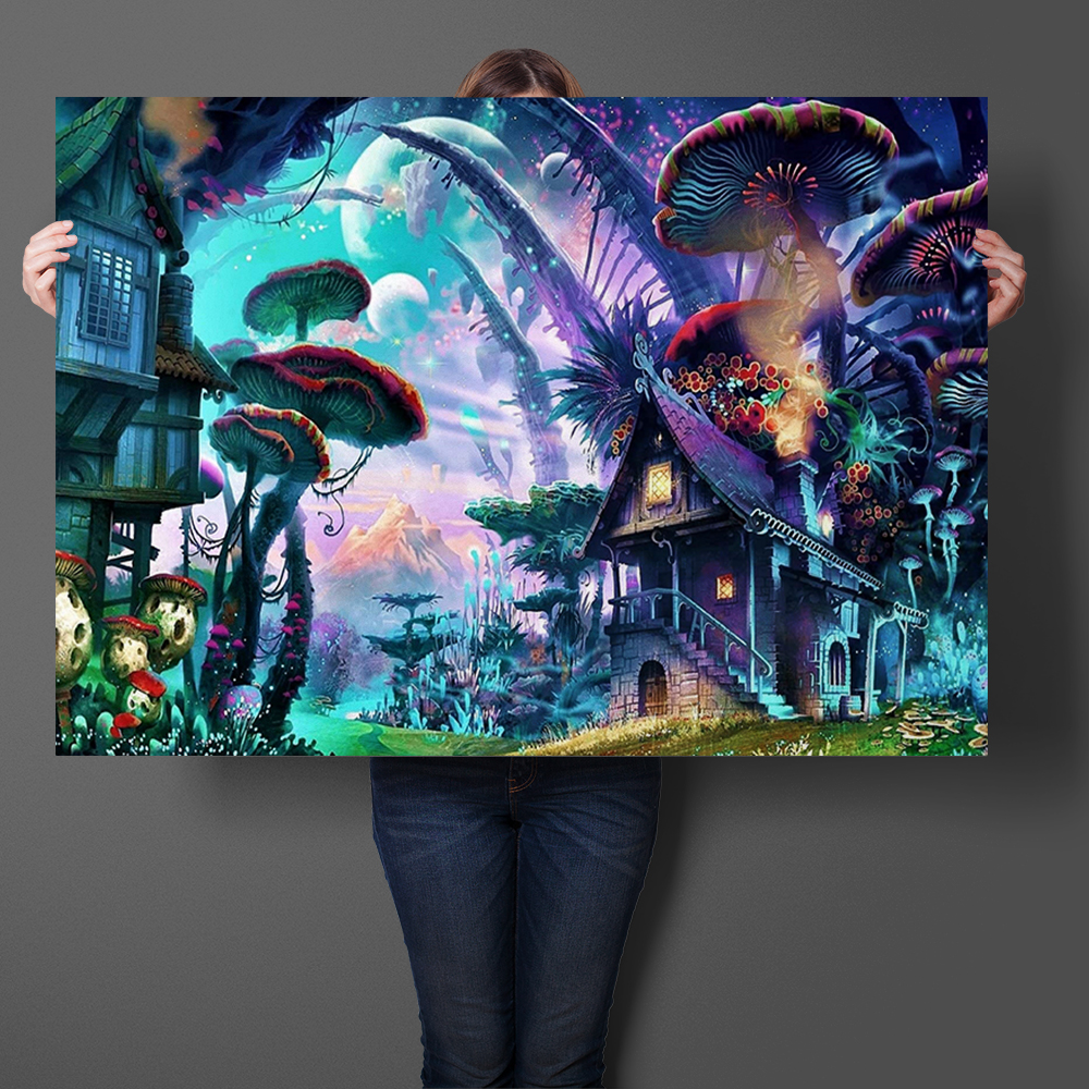 Art Prints Silk Fabric Poster And Print Trippy Rick and Morty Shroom House Wall Art Picture Painting Home Decor Wall Sticker