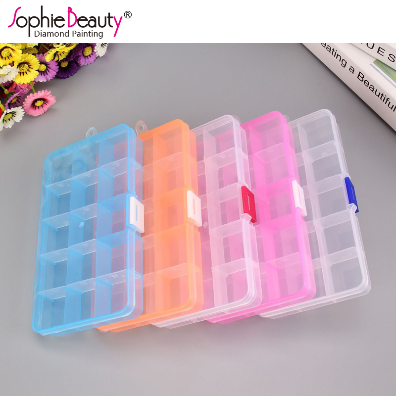 New 15 Slots 4 Colors Plastic Storage Box Jewelry Pill Clear Case Diamond Painting Coss Stitch Embroidery Beaded Mosaic Tool