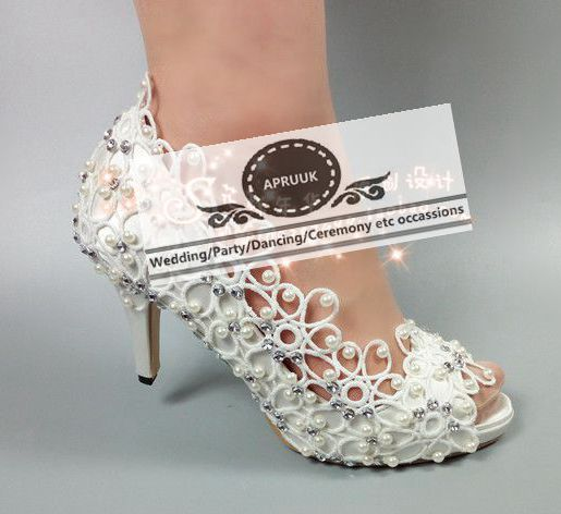 Summer open peep toes sexy heel wedding shoes white lace ivory pearls HS373 bridal brides plus