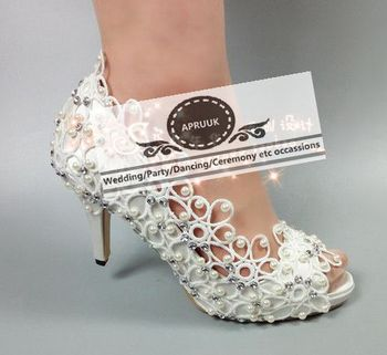 Summer open peep toes sexy heel wedding shoes white lace ivory pearls HS373 bridal brides plus size wedding pumps shoe