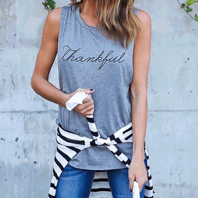 HEE GRAND New Summer Style Frauen Basic Tops Rundhals Ärmellos Brief - Damenbekleidung - Foto 3