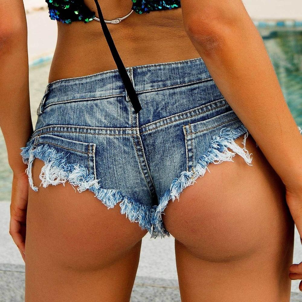 Sexy Fringed Hole Denim Shorts Women Low Rise Waist Jean Shorts Summer Girl Hot Booty Shorts Beachwear Hotpants