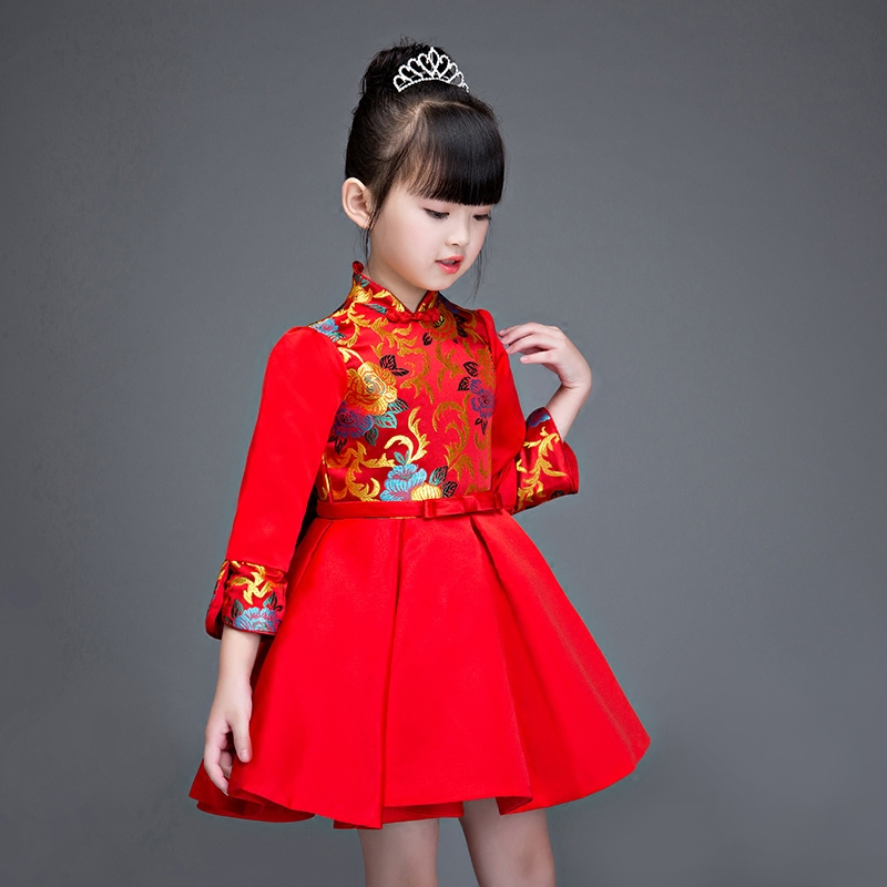Baby Girl Qipao Chi-Pao Cheongsam Dress New Year Gift Children Clothes Kids Dress Girls clothing Wedding Birthday Princess Dress 2018 children s clothing new short sleeved girls printed shoulders children princess puff dress baby girl clothes baby