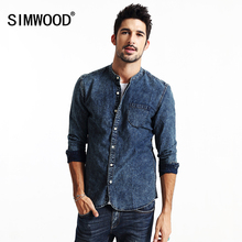 Simwood 2016 new autumn kausal denim shirts männer langarm 100% baumwolle stehkragen cs1563