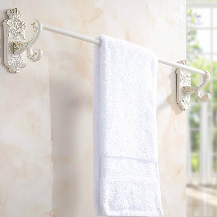 Free Shipping Luxury white Wall Mounted Towel Rack Bathroom Single Towel Bar Towel Shelf Bathroom Accessories Towel bar elegant the ivory white european super suction wall mounted gate unique smoke door