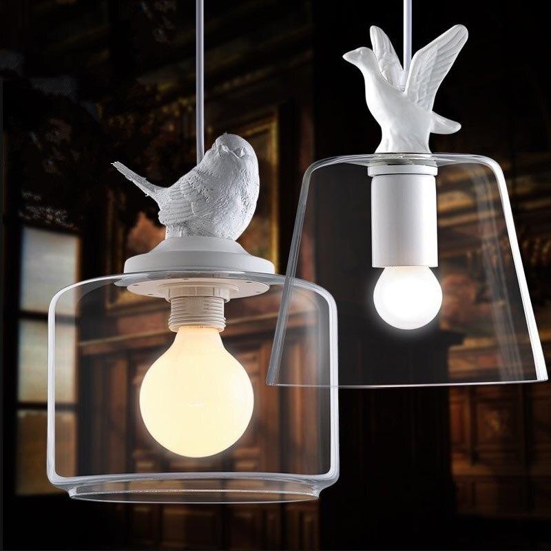 Contemporary White Bird Duck Pendant Light Personalized Handmade Resin Animal Pendant Lamp Cute Decorative Indoor Pendant Light personalized 1 5heads black white