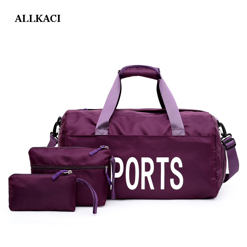 Gym Bags set Men Women Outdoor Waterproof Nylon Sports Bag Girls Training Fitness Travel Handbag Yoga Mat Bag4849 image