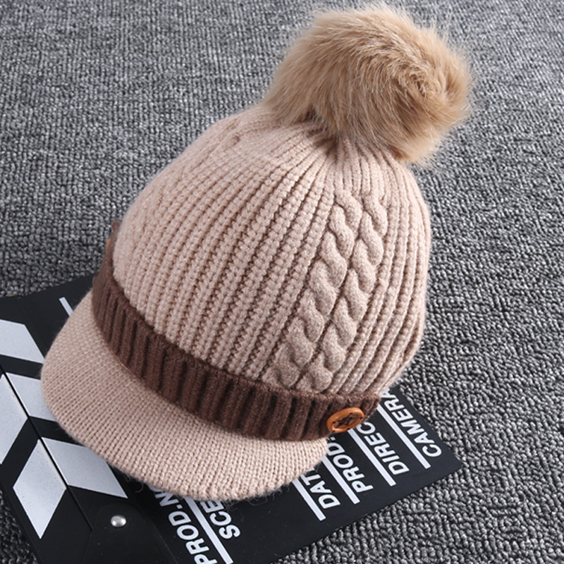 704f1f51f5f Best buy Baby hat wool cap male thick section 1 5 years old baby ball cap  girl and boy autumn and winter warm hat kids winter hats online cheap