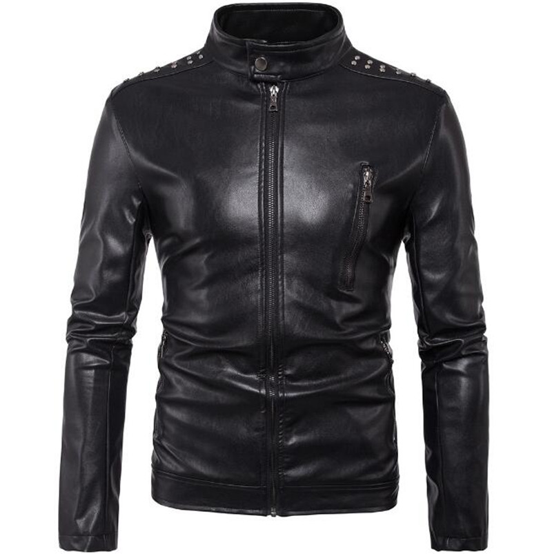 New Retro Motorcycle Leather Jacket Mens Coat Slim Fit Punk PU Leather Moto Jacket Biker Windproof Motor Clothing Size M-5XL destroyed slim fit biker jeans