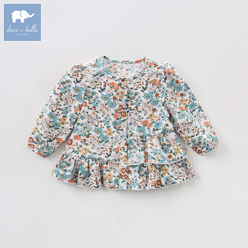DBA7976 dave bella autumn baby girls floral shirt kids cotton sweet tops children high quality blouses db5884 dave bella autumn infant baby girls fashion t shirt kids 100% cotton lovely tops children high quality tee