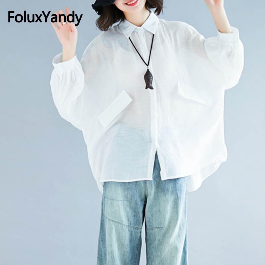 Casual Oversize   Shirts   for Women Loose Lantern Long Sleeve   Blouse     Shirt   White MMHH690oil