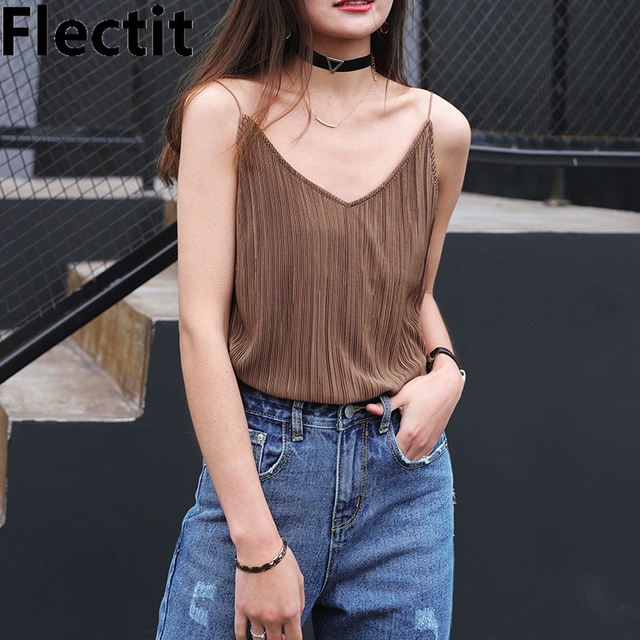 Flectit Pleated Woven V Neck Thin Strap Camisole Tank Camis Top For Women Lady Dressy Night Out Tops debardeur femme
