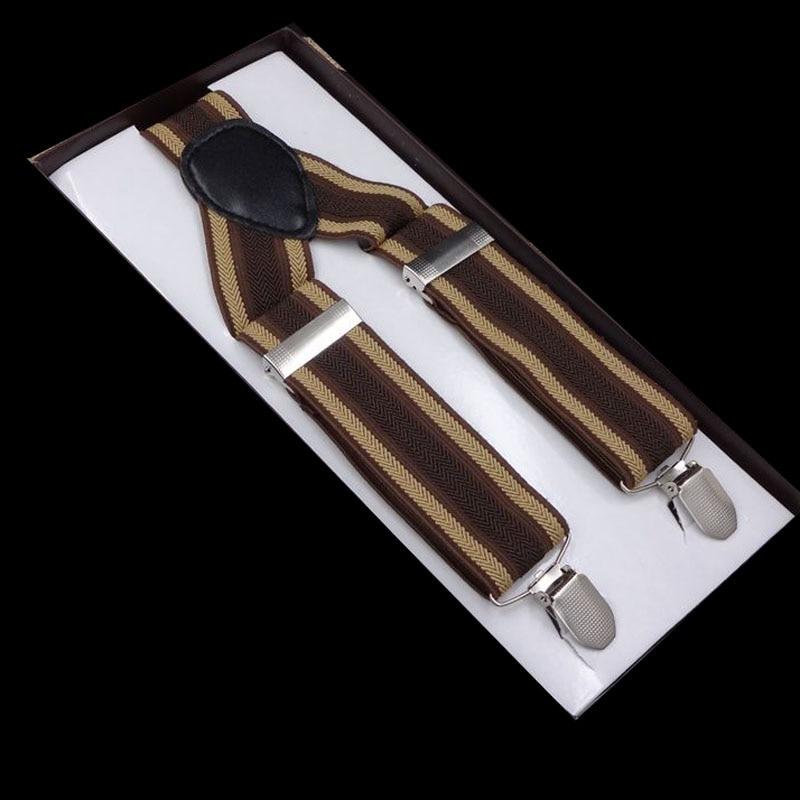 Europe And America Popular 3.5*100cm 3 Clip Printing Brown Suspenders
