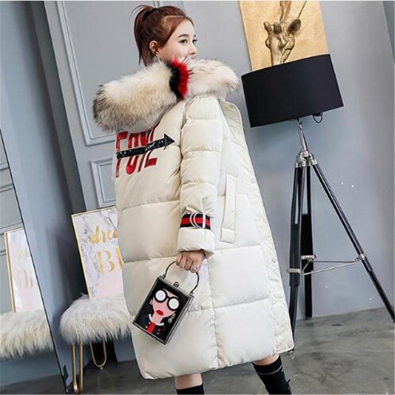 Women Long Winter   Down     Coat   Fashion Female Big Fur Collar Duck Parkas Jacket Thick Warm Print   Down     Coat   Slim Wadded Jacket