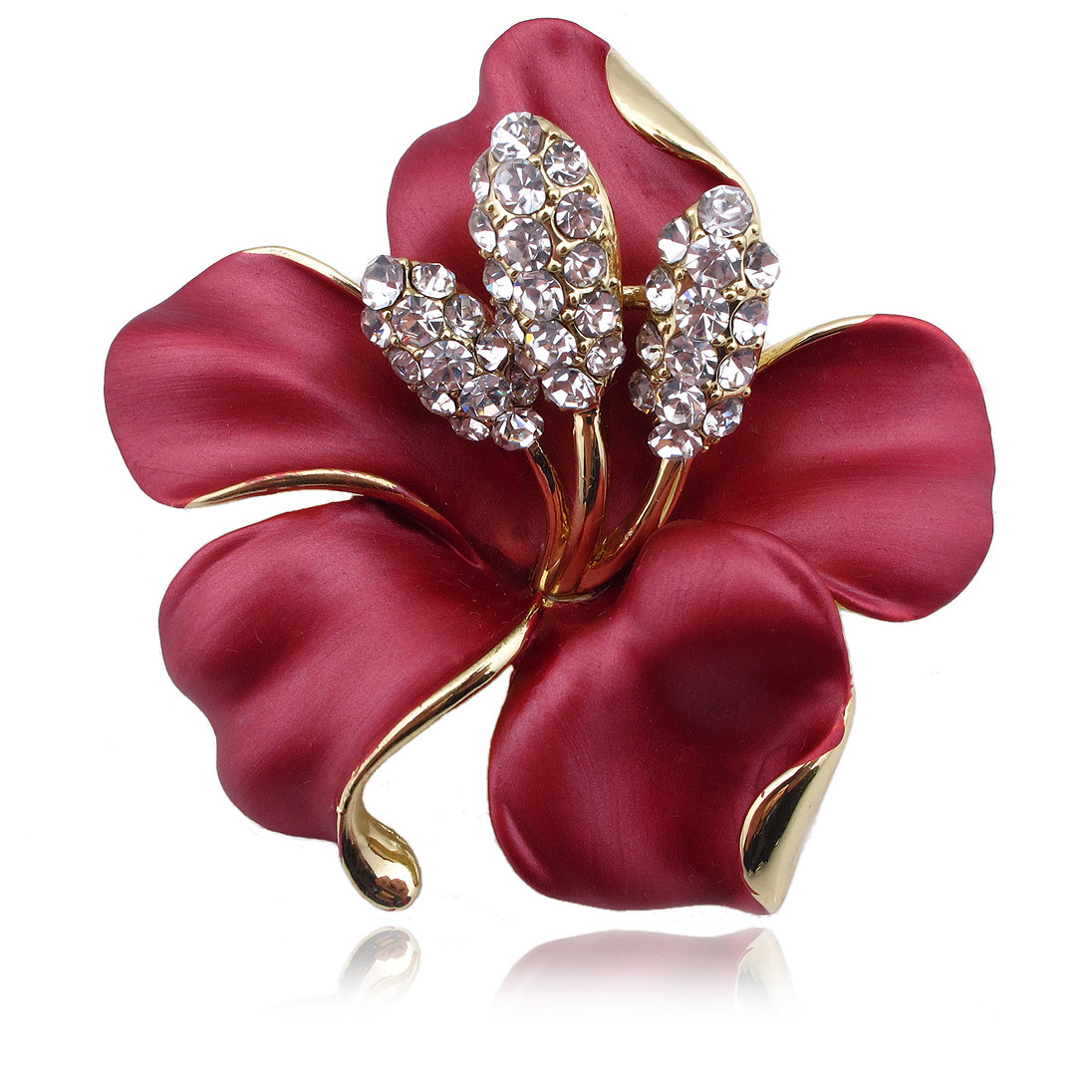 2016 Hot Enamel Brooch Crystal Lily Flower Brooches ...