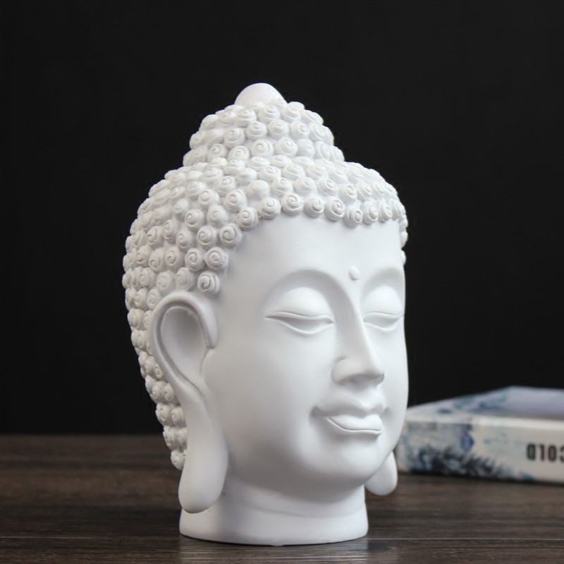 Blanc et noir moderne tête de bouddha décoration résine décoration de la maison artisanat Feng Shui ornements