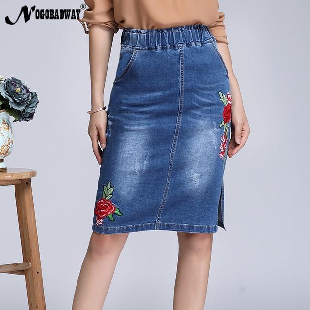 12b1c10b5e Faldas de mezclilla bordadas florales de cintura elástica de talla grande para  mujer 2018 Primavera Verano