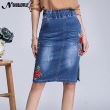 5962ca0682c Плюс Размеры эластичной талией цветочный джинсовые юбки с вышивкой Для  женщин 2018 сезон  весна–