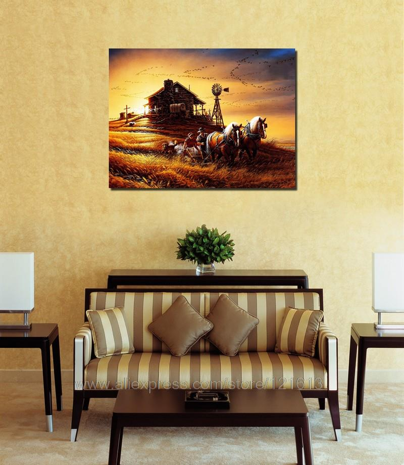 Sunset Village Horse Reproduction Print On Canvas Decoration For A ...