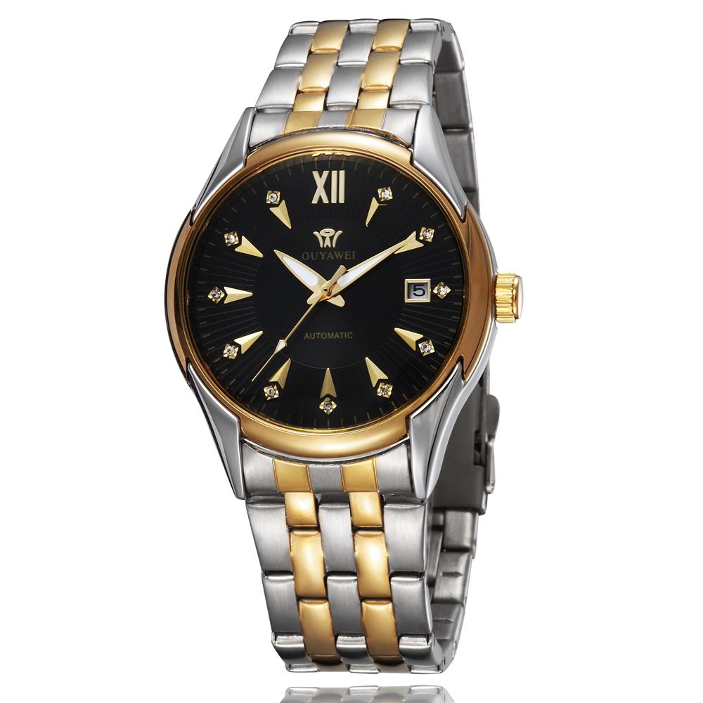 Prix pour Ouyawei marque de luxe or vent main mécanique hommes montre-bracelet reloj hombre 30 m étanche en acier plein robe noire mâle montre cadeau
