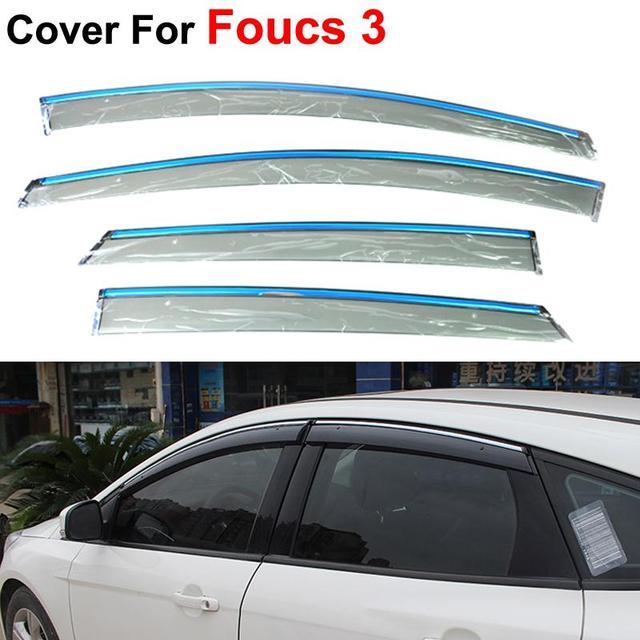 4pcs/lot Auto Window Visors For Ford Focus 3 Sedan Hatchback 2012 2013 2014 Sun Rain Shield Stickers Car Styling Awnings Shelter