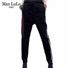 Max LuLu Luxury Korean Style Ladies Autumn Streetwear Women's Striped Black Jeans Fitness Straight Pants Woman Corduroy Trousers(China)