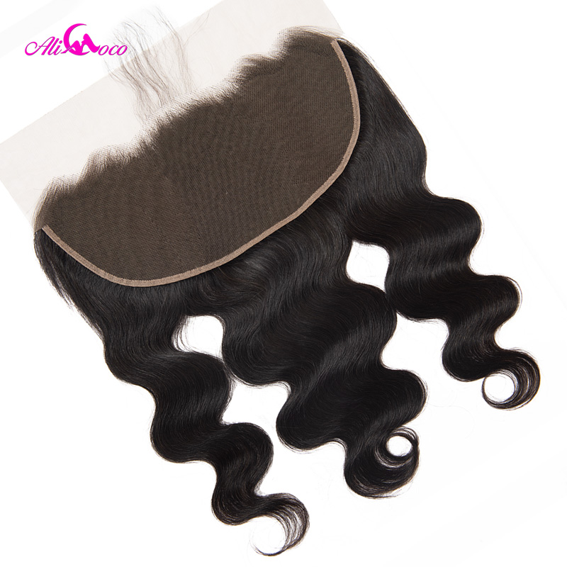 Ali Coco 13X6 Brazilian Body Wave HD Transparent Lace Frontal Closure 8-24 Inch Human Hair Closure Natural Color Remy Hair