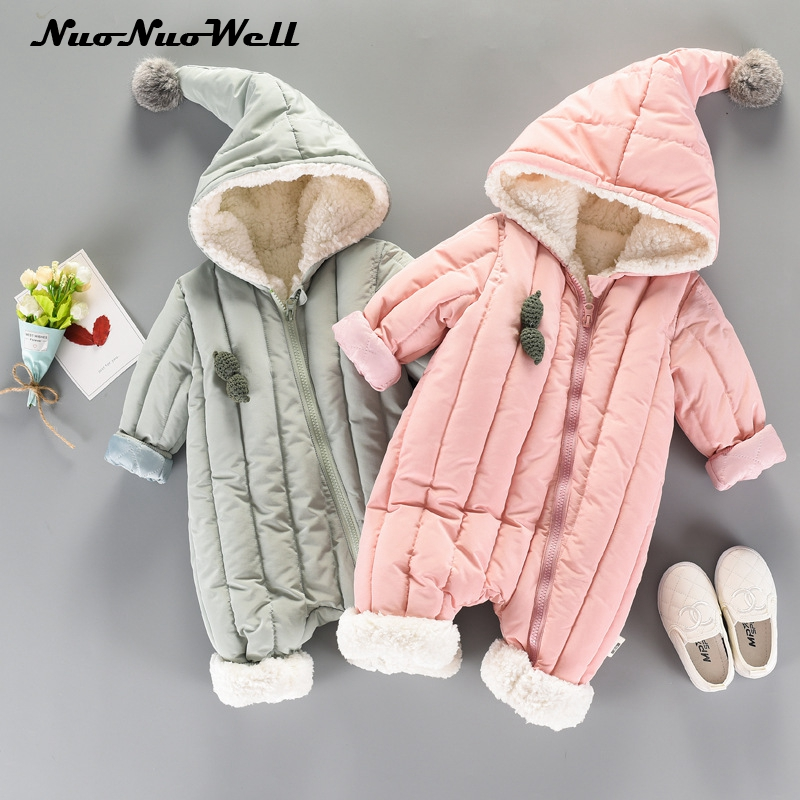 Baby Snowsuit Infant Boys Girls Jumpsuit Winter Thick Romper Newborn Baby Toddler Baby Clothes Cute Hooded Warm Clothing newborn infant baby boy girl clothing cute hooded clothes romper long sleeve striped jumpsuit baby boys outfit