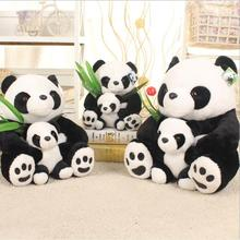 Kawaii Fashion Mother and Son Real Life Plush Panda Doll Parent-child Bear Toy  Hug Bamboo Leaf Toys for Children