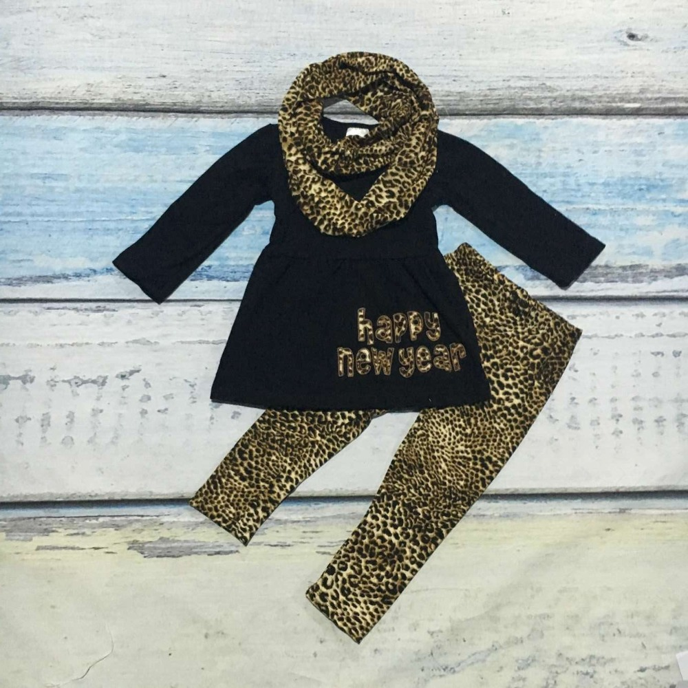 Winter kids OUTFITS girls Happy New Year 3 pieces with scarf outfits baby leapord pant Years clothing party