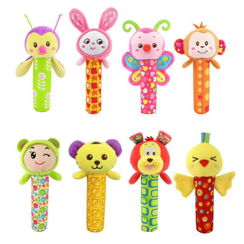 Baby Soothing Rattle Animal BB Stick Hand Bell Rattle Plush Toys Funny Educational Toys For Kids Baby Boy Girl