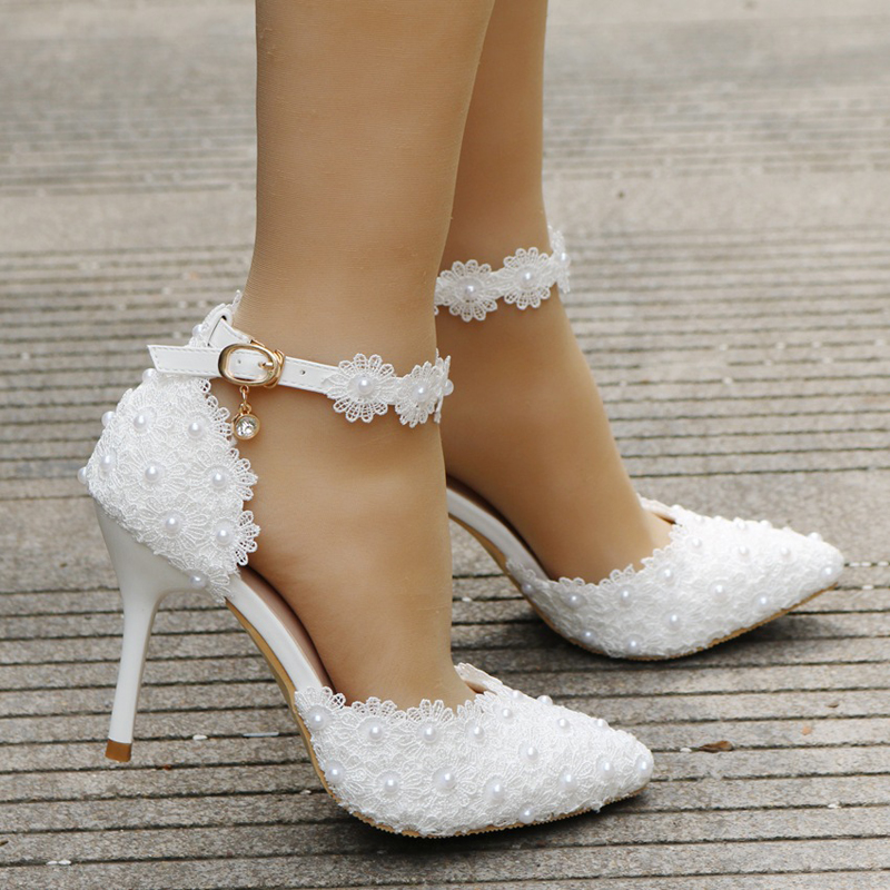 Wholesale White Lace Pointed Toe Bridal Dress Shoes Women Pumps Pointed Toe pompes pour femmes Ankle Straps bridesmaid Shoes-in Women's Pumps from Shoes    3