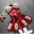 2016 New Women Red Winter Sleeveless Faux Fox Fur Leather Coat Outerwear Black Vest Plus Size XXXL PU Jacket Overcoat  YY331