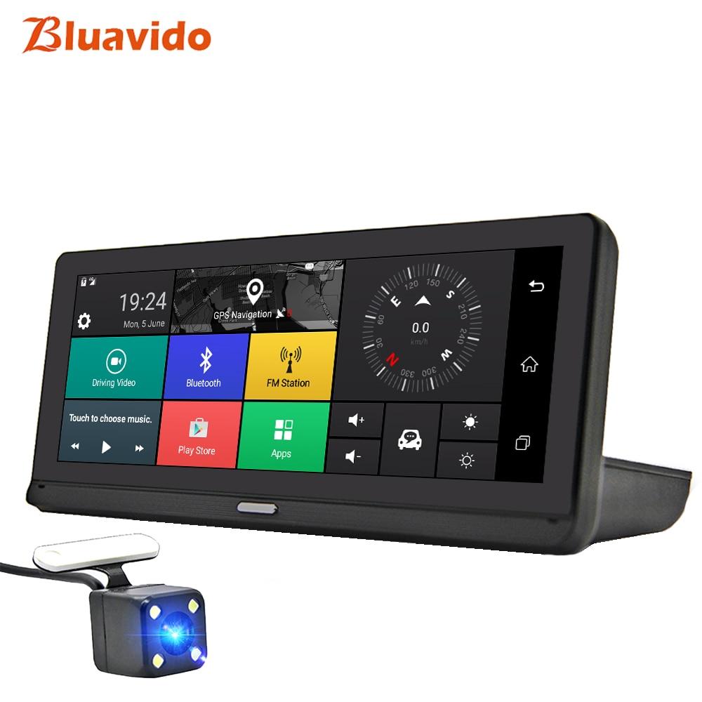 Автомобильный видеорегистратор Bluavido, 8 дюймов, IPS, GPS, 4G, Android, ADAS, FHD, 1080 P, видеорегистратор с двумя объективами, Автомобильный видеорегистратор, монитор с дистанционным управлением и ночным видением