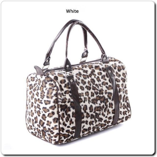 Gift for Women Leopard Faux Fur Handbag Double Handles Top Zip Pillow Purse Bombe Market Tote Traveling Case Free Shipping