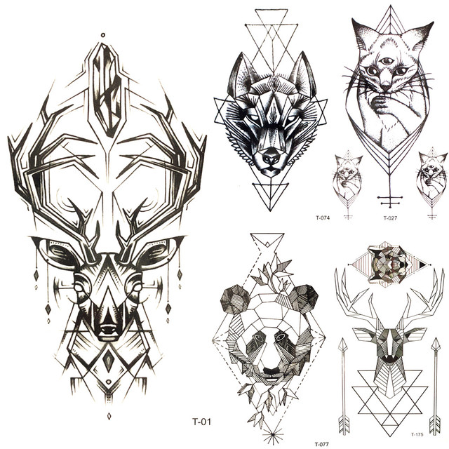 cfb27b048 Cool Geometry Elk Chains Water transfer Tattoo Antlers Body Arm Art  Temporary Tattoo Sticker Men Fake