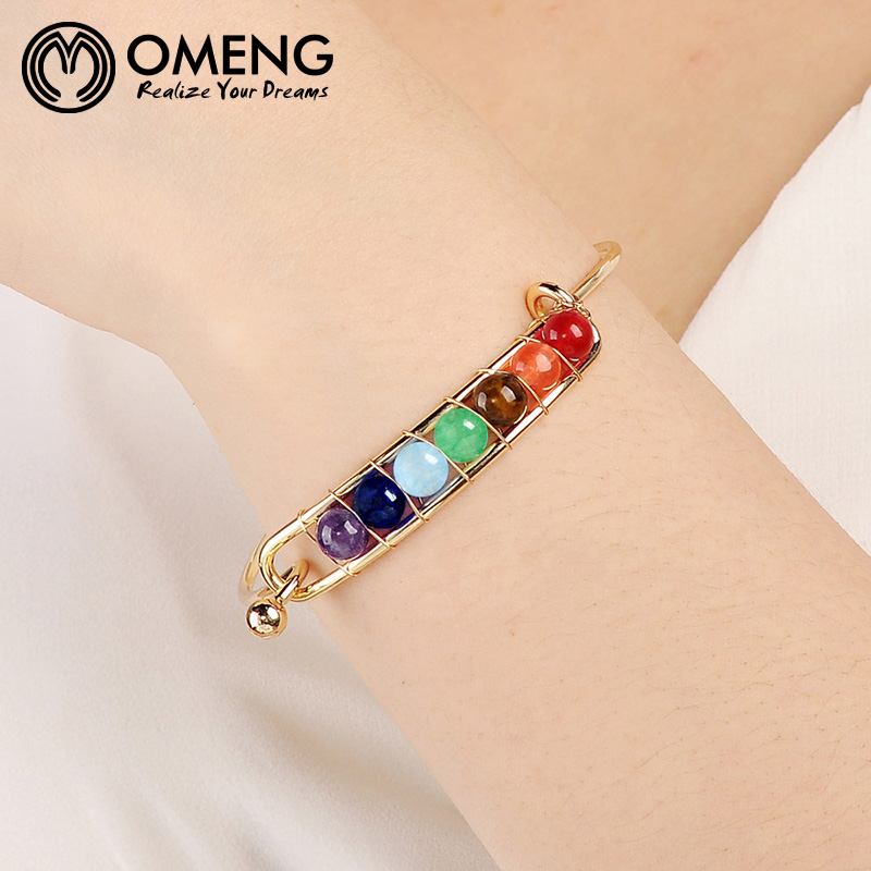 Bracelets & Bangles Hard-Working Omeng New Arrival Natural Stone 7 Color Mixed Chakra Bangles Bijoux Pray Jewelry Beaded Bracelet Women Men Gift Sz125 Modern And Elegant In Fashion
