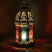 Morocco Colorful Glass Fashion Iron Crafts Tabletop Candlestick Wedding Decoration Dining Decorative Candlesticks Candle Holders