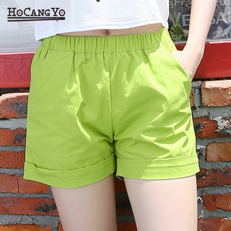 HCYO Summer   Shorts   for Women Loose Casual 100% Cotton   Shorts   Plus Size Solid Color Elastic Waist Straight Hot   Shorts   for Girls