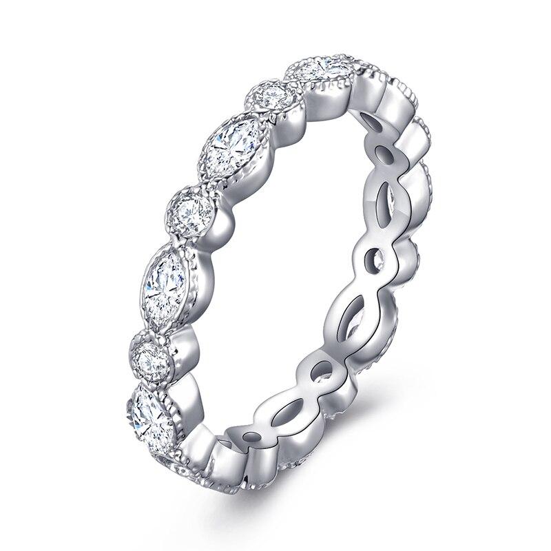 Модное Сверкающее циркониевое серебряное кольцо для женщин, цветочное сердце, корона, кольца на палец, фирменное кольцо, ювелирное изделие, Прямая поставка - Цвет основного камня: 25
