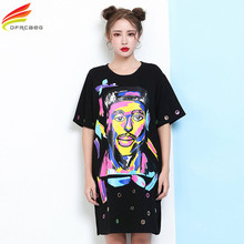 Women Summer Dress 2017 New Arrivals Half Sleeve Character Printed Ladies Casual Dresses Plus Size Women's Clothing Tshirt Dress