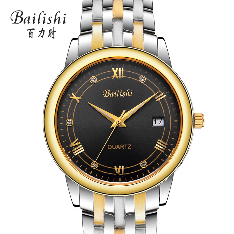 Bailishi Gold Watch Men Watches Top Brand Luxury Famous Wristwatch Male Clock Golden Quartz Wrist Watch Calendar Relogio Masculi bailishi casual quartz watch diamonds hour stainless steel wrist watch male clock brand luxury men wristwatch 30m waterproof