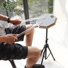 8 дюймов серый резиновые деревянные немой барабан Практика Обучение барабан Pad с подставкой для ударные инструменты для джаза упражнения