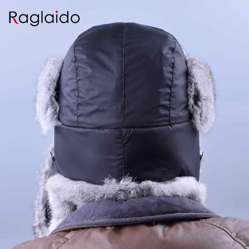 Russa Chapéus de Inverno Para Os Homens À Prova D' Água Quente Verdadeira Pele De Coelho Chapéu Bombardeiro Chapéus De Pele Genuína dos homens Caçador Chapéus LQ22003