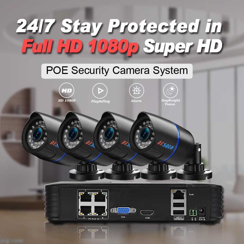 BESDER Full HD 1080P CCTV Security System 4pcs 1080P Indoor/Outddoor IP Camera 4CH POE15V NVR CCTV Kit P2P 1080P HDMI/VGA Output