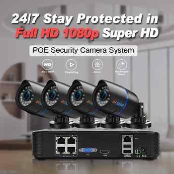 BESDER Full HD 1080P CCTV Security System 4pcs 1080P Indoor/Outddoor IP Camera 4CH POE15V NVR CCTV Kit P2P 1080P HDMI/VGA Output